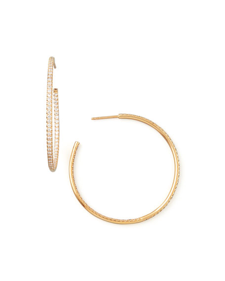 45mm Rose Gold Diamond Hoop Earrings, 1.4ct