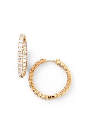 Roberto Coin 35mm Rose Gold Diamond Hoop Earrings, 3.43ct