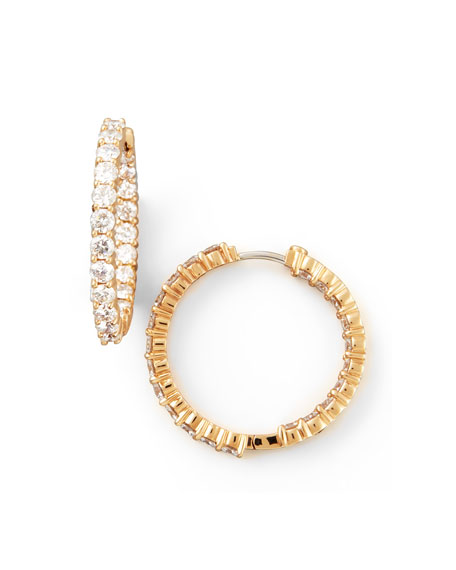 35mm Rose Gold Diamond Hoop Earrings, 3.43ct