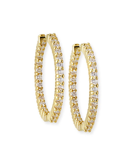 25mm Yellow Gold Diamond Hoop Earrings, 1.53ct