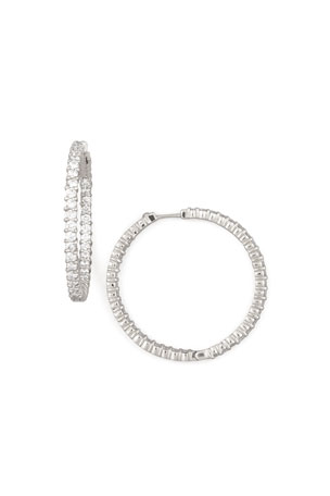 Roberto Coin 38mm White Gold Diamond Hoop Earrings, 2.46ct