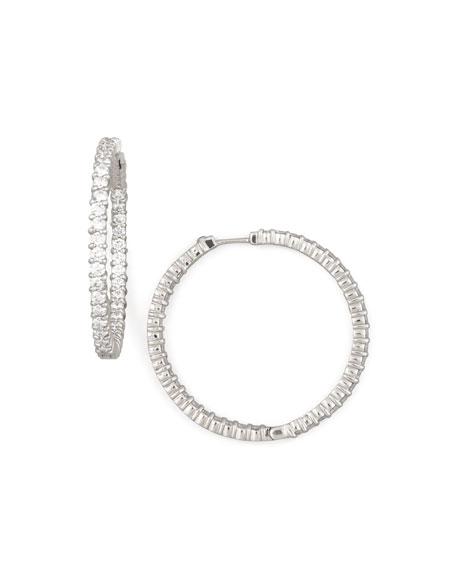 38mm White Gold Diamond Hoop Earrings, 2.46ct