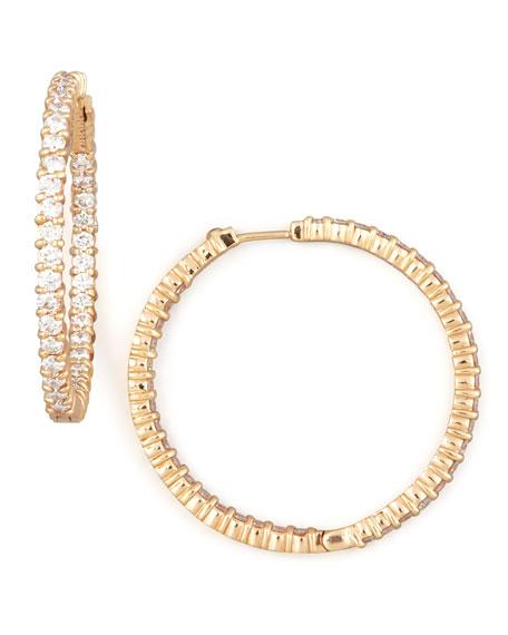 38mm Rose Gold Diamond Hoop Earrings, 2.46ct