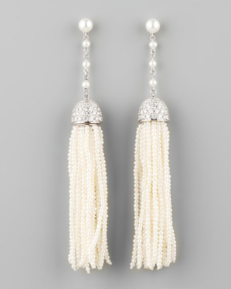 Seed Pearl and Diamond Tassel Earrings