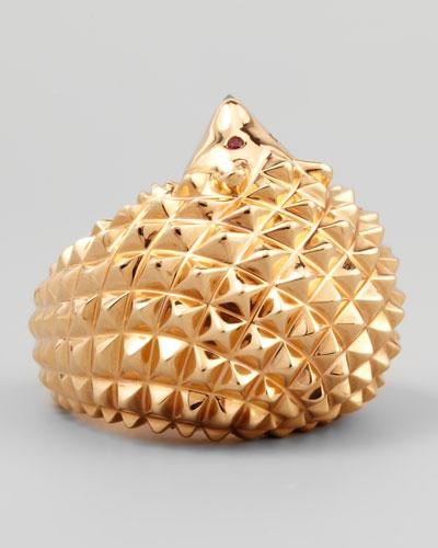 18k Pink Gold Herisson Hedgehog Ring, Size 7