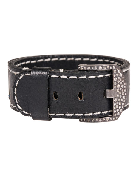 Leather Cuff Bracelet with Diamond Buckle