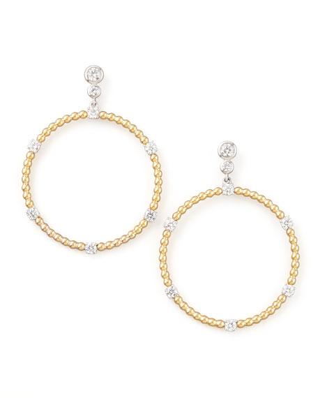 Swing Diamond Gold Ball Hoop Earrings, E/VS2-SI1