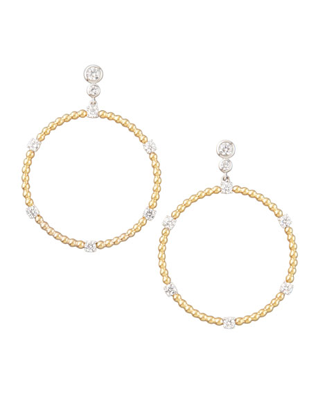 Swing Diamond Gold Ball Hoop Earrings, F/VS2 1.5tcw