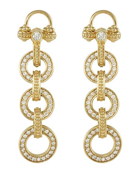 18k Gold Diamond Linked-Drop Earrings