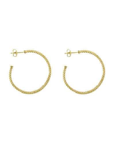 18k Gold Caviar Beaded Hoop Earrings, 35mm