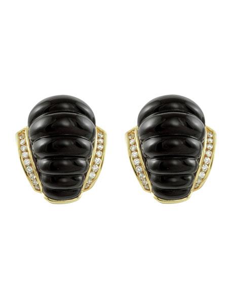 18k Fluted Black Agate & Diamond Earrings
