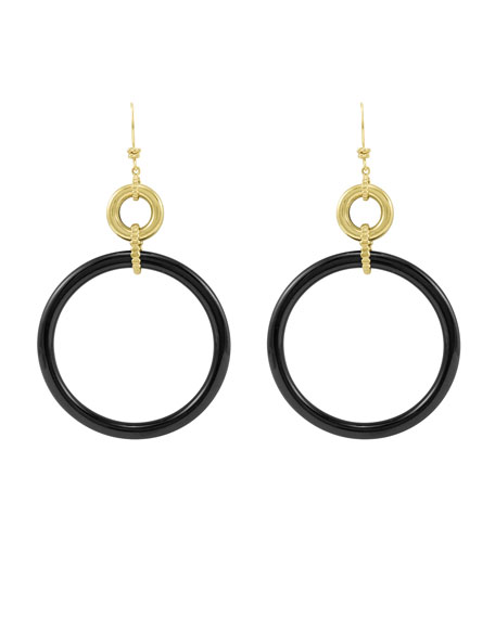 18k Black Agate Circle Drop Earrings