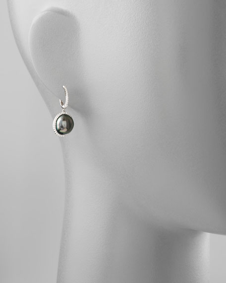 Gray South Sea Pearl and Diamond Framed Drop Earrings, White Gold