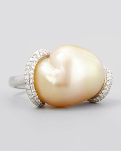 White Keshi Pearl and Diamond Ring