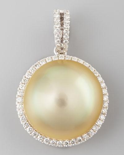 Golden South Sea Pearl and Diamond Halo Pendant, 0.33 TCW