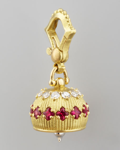 18k Diamond/Ruby Meditation Bell Pendant, 12mm