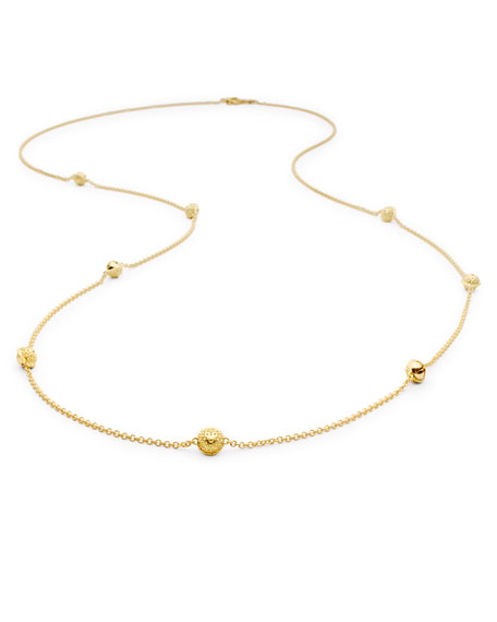 "18k Gold Jingle Meditation Bell Necklace, 36""L"