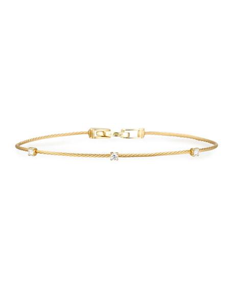 18k Yellow Gold Three-Diamond Bracelet, 0.18 TCW