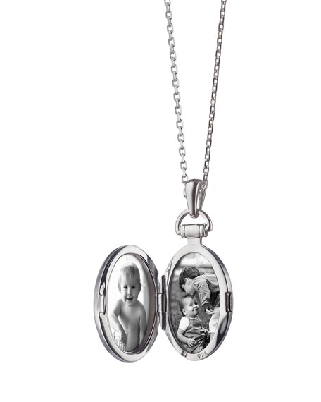 "3/4"" Pinstriped Silver Oval Locket Necklace"
