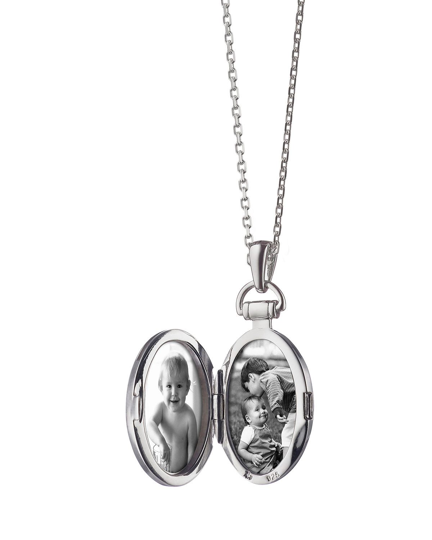 Monica Rich Kosann 1 Pinstriped Silver Oval Locket Necklace lxr90zwI