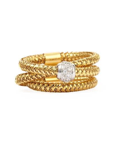 Primavera 18k Yellow Gold GHSI Diamond Triple-Row Ring, 0.10TCW