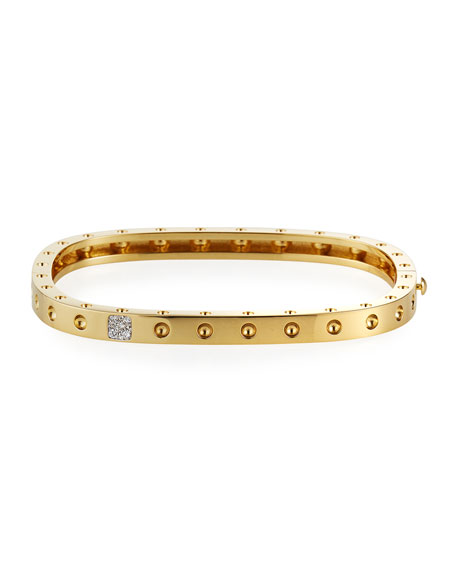 Roberto Coin Pois Moi One-Row Diamond Bangle, Yellow Gold