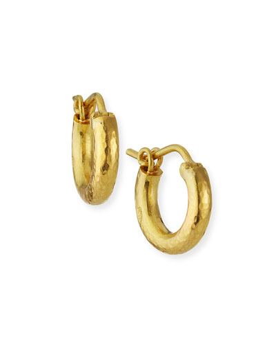 Baby Hammered 19k Gold Hoop Earrings, 14mm