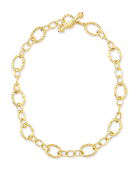 "Hammered 19k Garda Link Necklace, 17""L"
