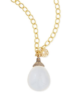 Syna Mogul Pave Diamond Moon Quartz Drop Pendant