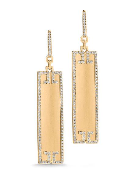 Metropolis 18k Rectangular Sliver Earrings with Diamond Deco
