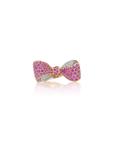 Mimi So Bow Mid Size 18k Rose Gold Pink Sapphire & Diamond Ring, Size 6