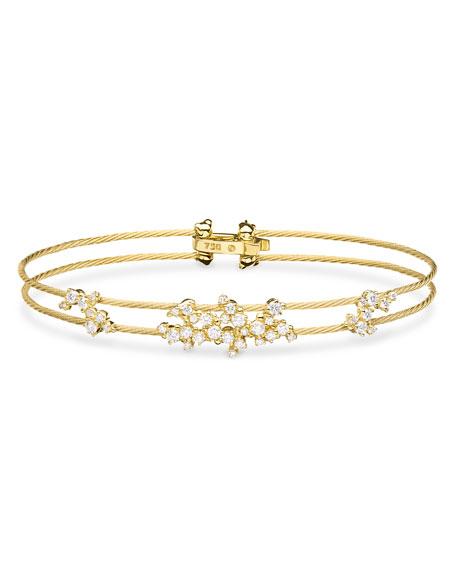 Diamond Confetti Double Wire Bracelet, Yellow Gold
