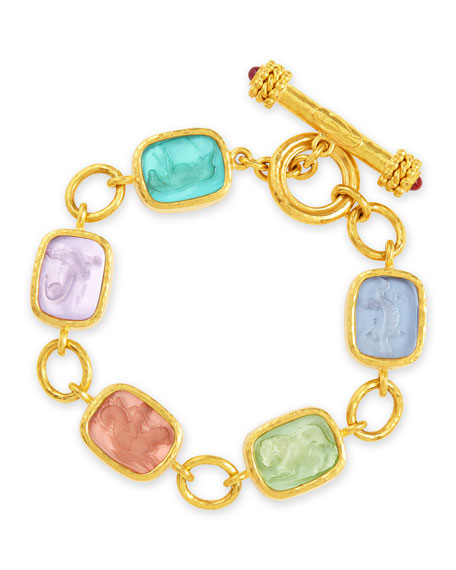 Antique Animals Intaglio 19k Gold Toggle Bracelet, Bright Pastel