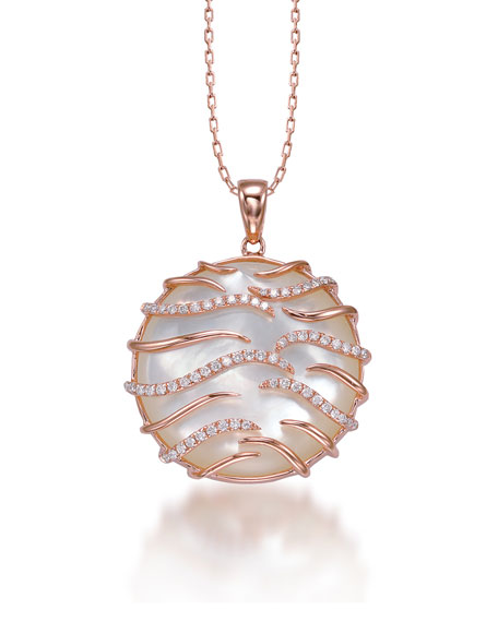 Luna Small 18k Pink Gold Mother-of-Pearl Pendant Necklace