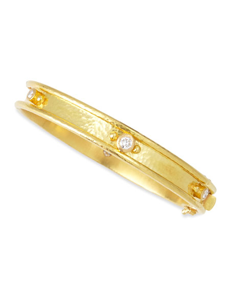 Elizabeth Locke 19k Gold Flat Thin Diamond Bangle