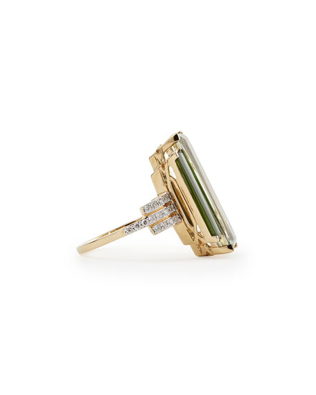 Empire 18k Gold Prasiolite, Tourmaline & Diamond Ring