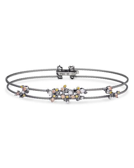 Diamond Confetti Double Wire Bracelet, Black Rhodium Plated Gold