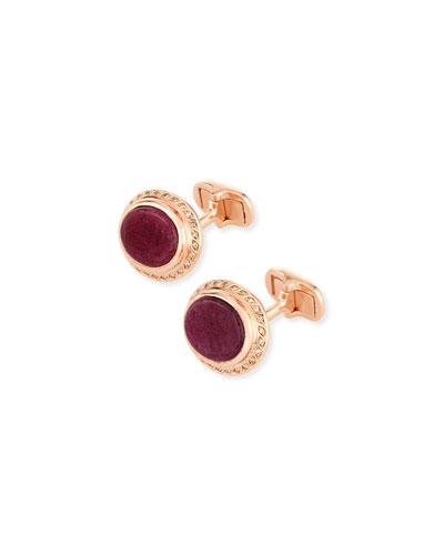 Ruby Sapphire & Diamond Cufflinks in 18K Rose Gold