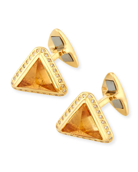 Yellow Sapphire & Diamond Cufflinks in 18K Gold