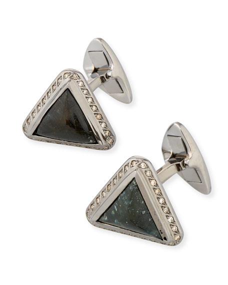 Glam'Azone Triangle Cufflinks in 18K Black Gold