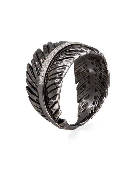 Rhodium-Plated Diamond Feather Band Ring
