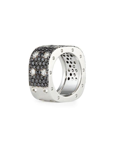 Roberto Coin Pois Moi 18k White Gold & Black/White Diamond 2-Row Ring, Size 6.5