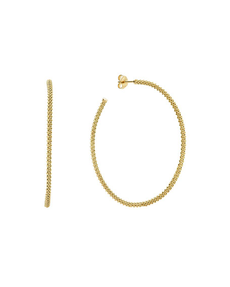 18k Gold Caviar Beaded Hoop Earrings, 50mm