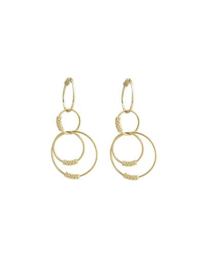 18k Gold Caviar Circle Drop Earrings