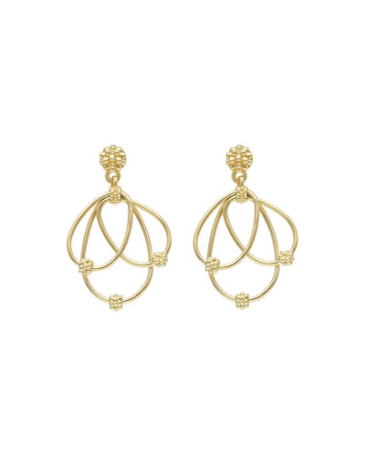 18k Gold 3-Oval Dangle Earrings with Caviar