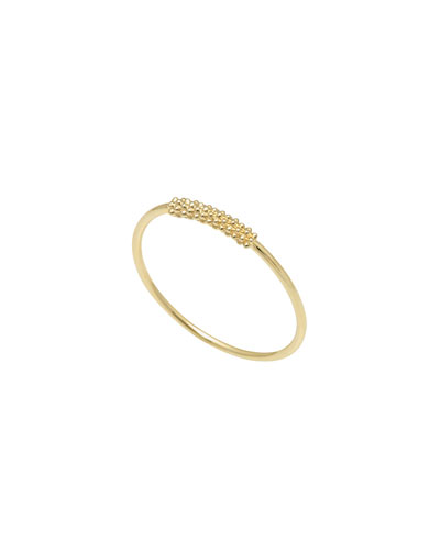 18k Gold Caviar-Bar Stackable Ring