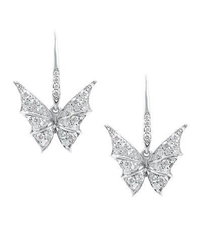 Fly By Night Mini Bat-Moth Diamond Earrings