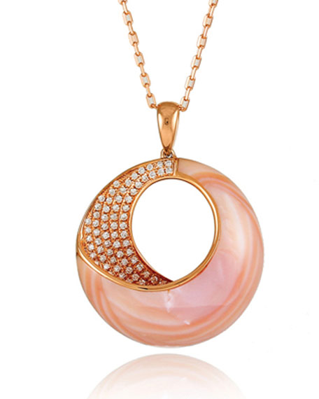 Frederic Sage Small Pink Mother-of-Pearl & Diamond Venus Twist Pendant Necklace