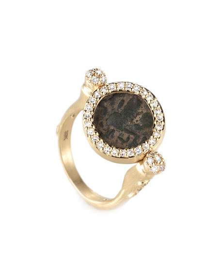 Antiquity 20k Flip Coin Ring with Diamonds