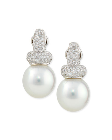 Belpearl Avenue Diamond & White Pearl Earrings